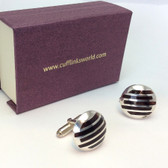 Golden Grid Design Round Cufflinks
