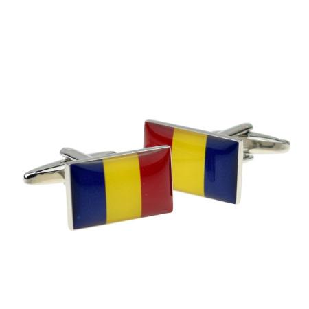 Romania Map Shape and Flag Design Cufflinks