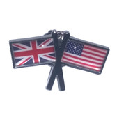 Union Jack and Stars and Stripes Friendship Flags Lapel Pin Badge