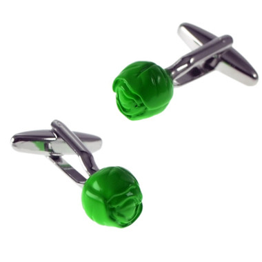 3D Green Brussel Sprout Style Cufflinks
