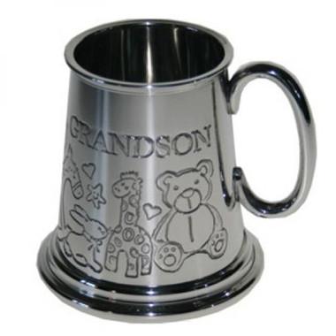Grandson 1/4 (quarter) Pint Pewter Tankard,