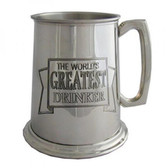 Worlds Greatest Drinker Pewter 1 pint Tankard