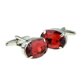 Oval Ruby Red Acrylic Crystal Cufflinks