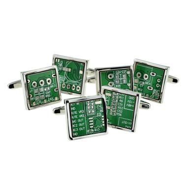 Upcycled Circuit Board cufflinks