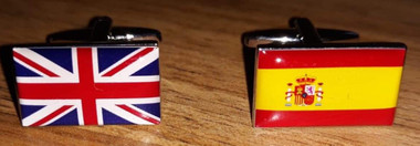 One Union Jack and One Spanish Flag Cufflinks