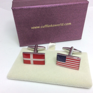 Dannish Flag and American Stars and Stripes Flag Cufflinks with Cufflinks Box