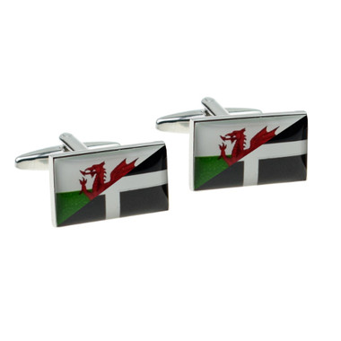 Mock up image of Welsh and Cornish flags combined cufflinks