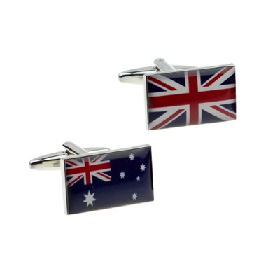 One of each: Australian Flag on one cuff and the Union Jack on the other cuff - as a pair of cufflinks