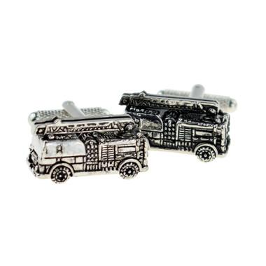 Metal fire engine cufflinks