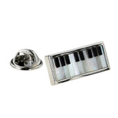 Mother of Pearl Piano Keyboard Lapel Pin Badge