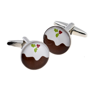 Christmas Pudding Cufflinks : A Tasty Traditonal Treat on your Sleeve!
