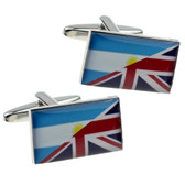 Union Jack & Flag of Argentina design combined Cufflinks