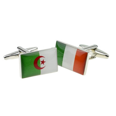One of each Irish and Algerian flag cufflinks