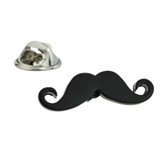 Black Curly Moustache Lapel Badge