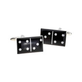 Black domino style cufflinks : 3 and 4