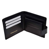 Black Leather Wallet with front closure