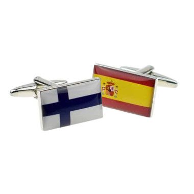 One of each flag cufflinks : Finland and Spain