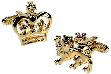 Gold Lion and Crown Cufflinks
