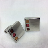 Yellow, Orange, Amber set in Chrome Square Cufflinks