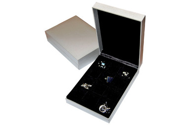 Storage Box - holds 12 pairs of cufflinks. Twelve compartments with black velvetine covering and soft silky black lid lining.  (please note cufflinks not included)