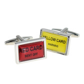 Football Penalty Card Cufflinks: Yellow - warning and Red - send off!