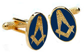 Oval Masonic Cufflinks with the Masonic square and compasses design