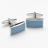 Light Blue Striped Formal Cufflinks