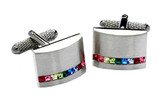 Swarovski multi colour crystal elements cufflinks