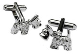 Crystal Scottis Dog Swarovski cufflinks