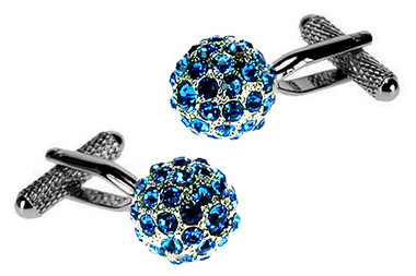 Blue Swarovski Crystal Spherical cufflinks