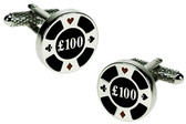 """£100 Chip"" Gambling cufflinks"
