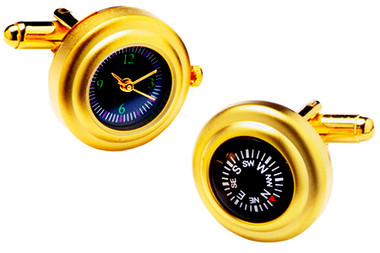 Satin / Matt Watch & Compass Cufflinks