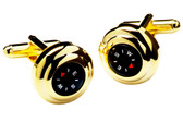 Compass cufflinks set in gilt