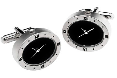 Watch cufflinks with black fascia