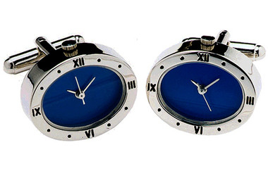 Working Watch Cufflinks with blue face