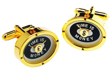 'Time is Money' Watch Cufflinks