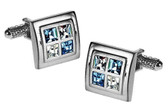 Swarovski Blue & Clear crystals square Cufflinks