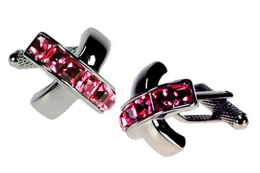 Rose Swarovski elements Cufflinks
