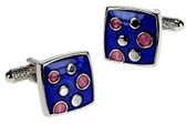 Formal cufflinks: Blue with Pink Enamel Circles