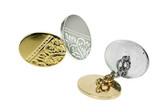 engraved chain link cufflinks