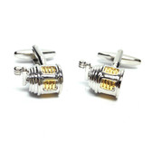 Two tone chrome fishing reel design cufflinks