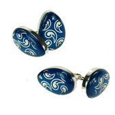 Blue enamel design 'egg shaped' chain-linked cufflinks