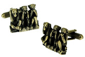 Three Wise Monkeys cufflinks Hear No Evil : See No Evil : Speak No Evil