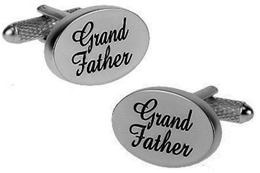 "Chome oval cufflinks with ""Grandfather"" on them"