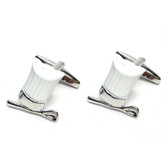 White Chef's Hat (Toque Blanche) with spoon Cufflinks