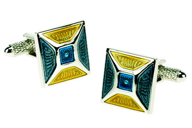 Square blue and yellow colourful cufflinks
