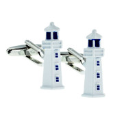 White lighthouse style cufflinks