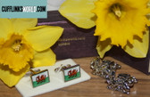 Welsh Dragon Cufflinks shown with Welsh Flag Cufflinks