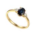 18ct 0.91ct Oval Sapphire & 0.17ct Diamond Ring Hallmarked 3 Stone