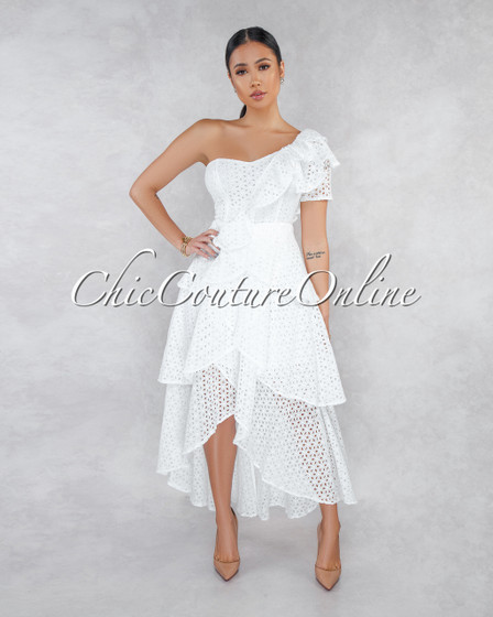 Taliya Off-White Eyelet Ruffle Single Shoulder Midi Dress